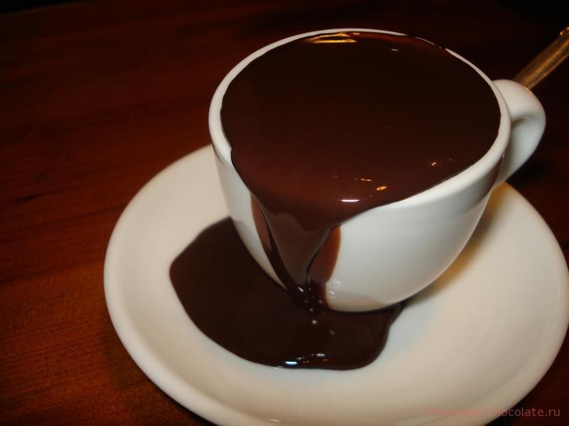 Густой горячий шоколад не поместился в кружку
