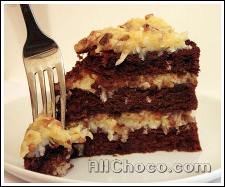 Немецкий шоколадный торт в разрезе