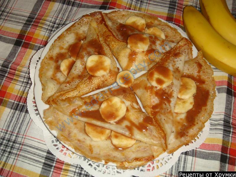 Блинчики с бананом и шоколадом: рецепт приготовления