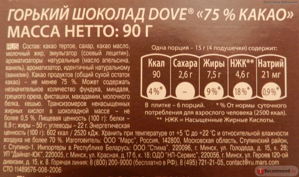 Шоколад состав продукта вещества