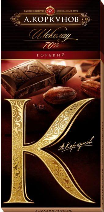 Горький шоколад фирмы «Коркунов»