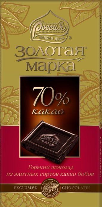 Горький шоколад «Золотая марка»
