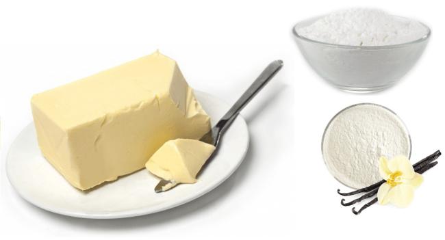 Масло, ванилин и сахарная пудра