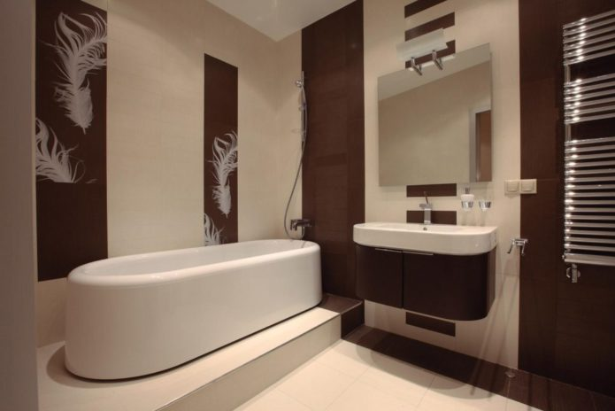 дизайн ванной в шоколадных тонах