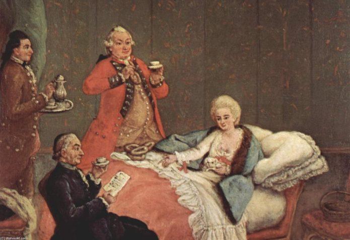 Екатерина II пьёт горячий шоколад в окружении своих вельмож