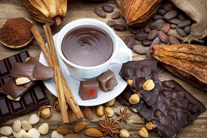 Горячий шоколад в чашке и его возможные ингридиенты