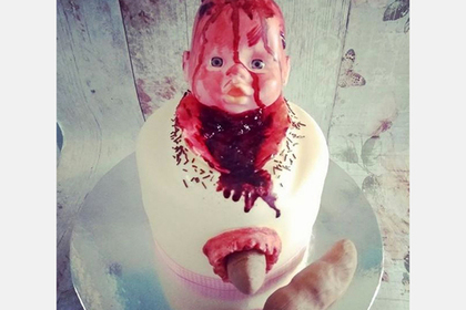Изображающий роды торт