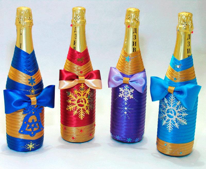 Идеи украшения бутылок на Новый год