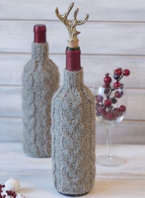 Украшение бутылки на Новый год