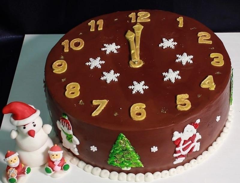 Украшение новогоднего торта