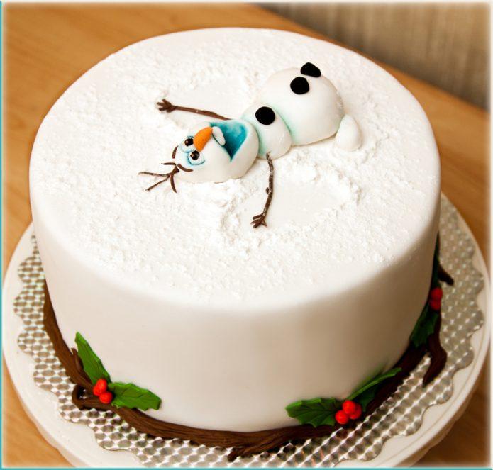 Снеговик из мастики