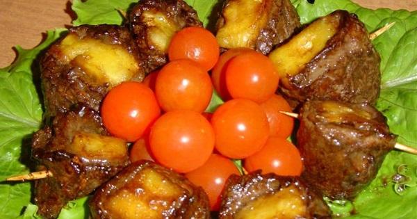 Запечённые кусочки ананаса