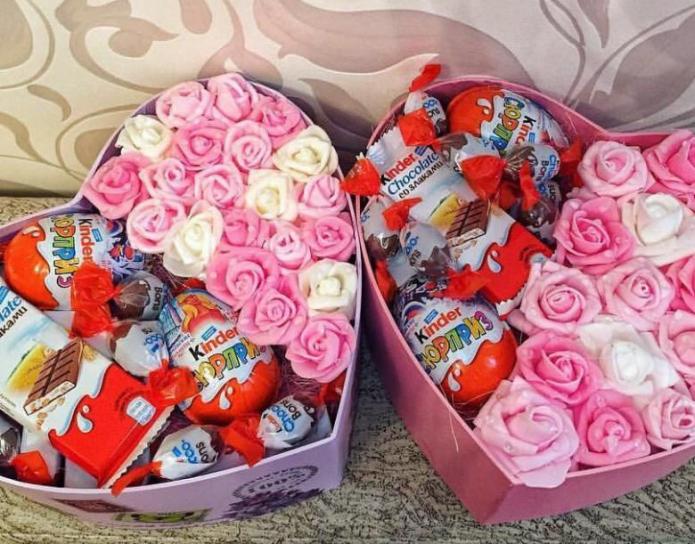 Киндер сладости и цветы