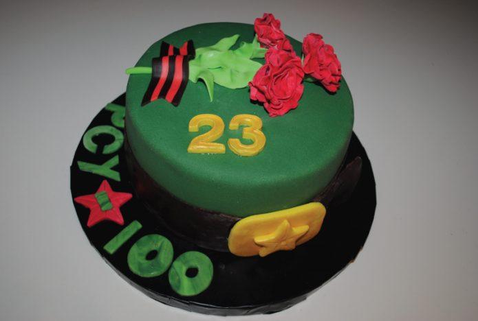 Торт на 23 февраля из мастики