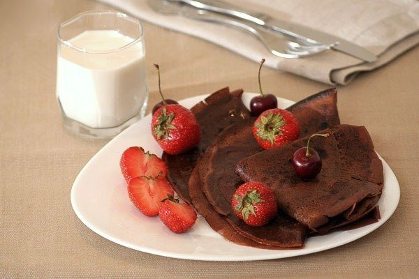 рецепты шоколадных блинов