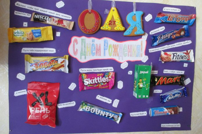 плакат со сладостями в подарок на день рождения